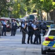 Einsatz: Polizisten am Tatort in Kranichstein nach der Schießerei