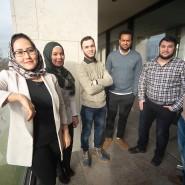Fünf Studenten, ein Absolvent: Sakineh Safari, Aya Khabaza, Mahmoud Alhag Ali, Samuel Fikreselasie, Mohammad Nabeel Alhamad und Amin Al Hassan (von links)