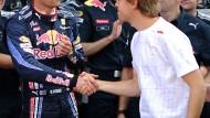 Kühle Kollegen: Webber (l.) und Vettel