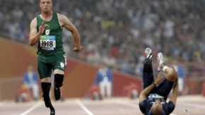 Pistorius of South Africa runs ahead of Shirley of U.S. in the men''s 100m T44 final during Beijing 2008 Paralympic Games