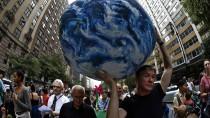 Das Wohl der Welt liegt in seinen Händen: ein Klimaschutz-Demonstrant in New York