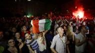 Da herrschte noch Siegeszuversicht: Tifosi in Rom