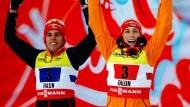 Zum Abschluss der Nordischen Ski-WM holen Johannes Rydzek (links) und Eric Frenzel Silber im Team-Sprint