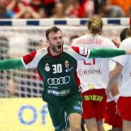 Ungarns Zoltan Szita jubelt, die Weltmeister aus Dänemark haben das Nachsehen.