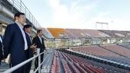Es ist angerichtet: Das Olympiastadion von Pyeongchang bei einer Inspektion