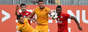 Grenzen aufgezeigt: Der Mainzer Jhon Cordoba im Duell mit dem FC Sevilla