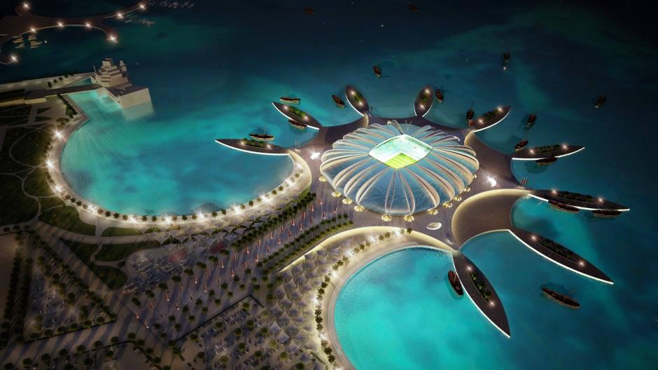 Das war der Plan: Ein Computerbild zeigt das Doha Port Stadium in Qatar.