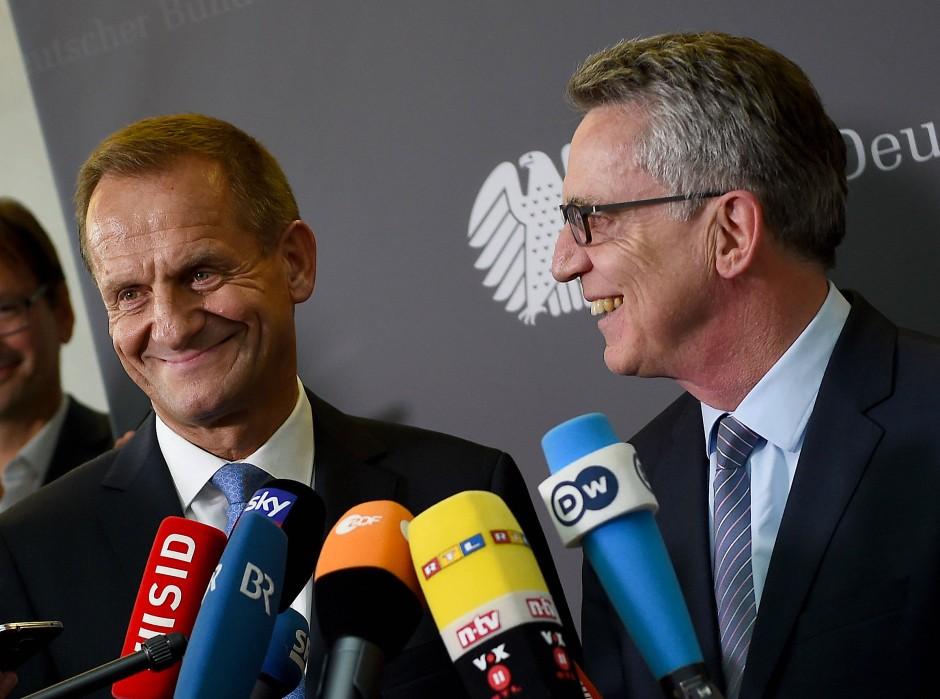 DOSB-Präsident Hörmann und Innenminister de Maiziere sind sich einig – die Fachverbände müssen sie aber noch überzeugen