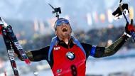Simon Schempp jubelt beim Massenstart über seine erste WM-Einzelmedaille