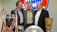 Das waren noch Zeiten: Rummenigge, Heynckes, Hoeneß (von links) nach dem Triple 2013.