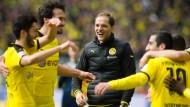 Saison eins nach Jürgen Klopp war für Dortmund eine überragende – vor allem dank Thomas Tuchels (Mitte) Neuaufbau.