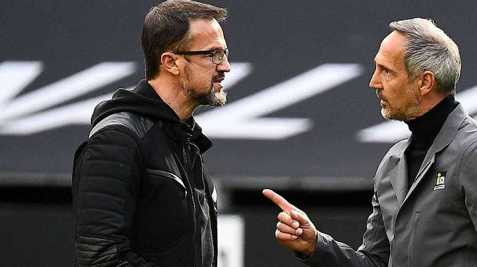 Fredi Bobic (links) und Adi Hütter verlassen die Eintracht schon bald.
