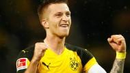 Stolzer Kapitän des Spitzenreiters: Dortmunds Doppeltorschütze Marco Reus.