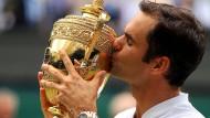 Der Rekord-Sieger: Roger Federer hat schon acht Mal in Wimbledon triumphiert.