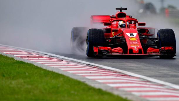 Rückschlag für Vettel im Regen-Chaos