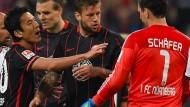 Im Hinspiel der Relegation und überhaupt: Zwischen Franken und Hessen gibt es beim Fußball Meinungsverschiedenheiten.