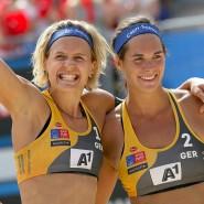 Da ist der Titel: Laura Ludwig (l.) und Kira Walkenhorst siegen im EM-Finale