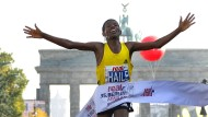 Das war´s: Haile Gebrselassie bei seinem Sieg beim Berlin-Marathon 2010