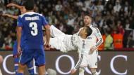 Große Show: Cristiano Ronaldo liegt gegen Cruz Azul wuer in der Luft
