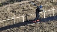 Skifahren 2018: die Tschentenalp bei Adelboden in der Schweiz.