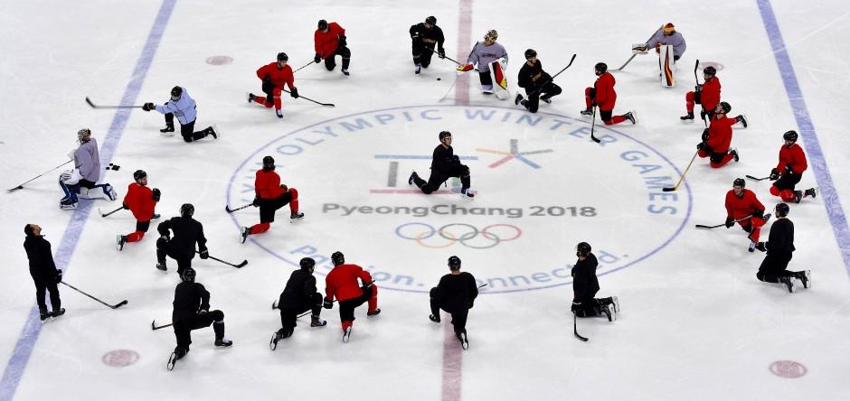 Regenerationsprogramm: Die deutsche Mannschaft am Tag nach dem Sieg gegen Kanada