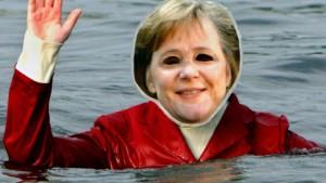Frau Merkel geht baden