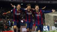Ein Herz und eine Seele: Messi (r.) mit seinen Spielkameraden Suarez (l.) und Neymar