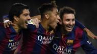 Vereint im Erfolg: Suarez, Neymar und Messi treffen für Barcelona