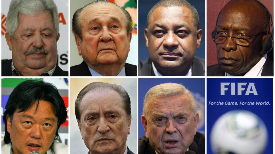 Fifa-Offizielle unter Verdacht (von links, von oben): Rafael Esquivel, Nicolas Leoz, Jeffrey Webb, Jack Warner, Eduardo Li, Eugenio Figueredo und Jose Maria Marin