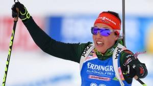 Laura Dahlmeier kommt sieben Sekunden zu spät