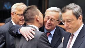 Treffen in Brüssel: Olli Rehn, Yannis Stournaras, Jean-Claude Juncker und Mario Draghi (von links na