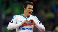 Yevhen Konoplyanka bejubelt sein Tor für Schalke