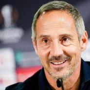 Hat ein klares Ziel vor Augen: Eintracht-Trainer Adi Hütter, hier bei einer Pressekonferenz im September
