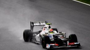 Regen bringt Segen: Das wasser von oben spülte Perez beim Rennen in Malaysia nach vorne