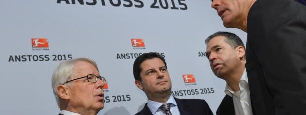Taktgeber: DFL-Chef Christian Seifert erklärt Rauball, Rettig und Löw die Zukunft
