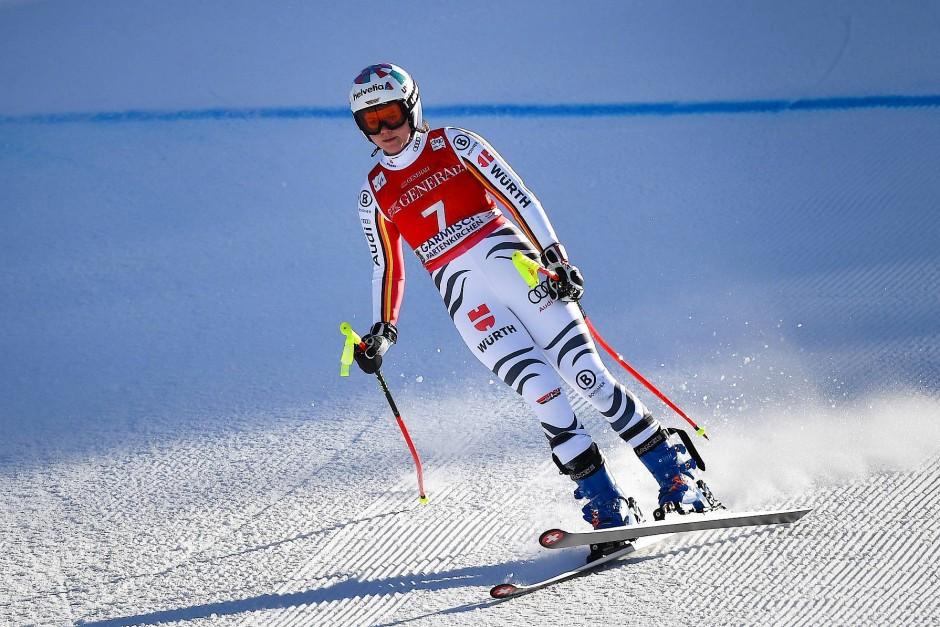 Mit Knieverletzung ins Ziel gerutscht: Rebensburg vergangenes Wochenende in Garmisch,
