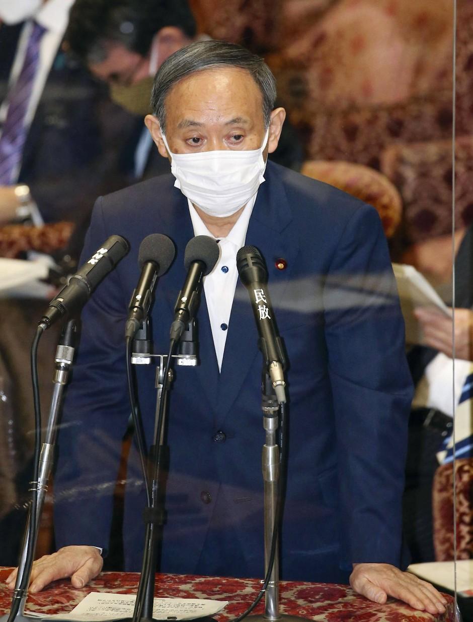 """Premierminister Yoshihide Suga: """"Meine Priorität war immer, das Leben und die Gesundheit der japanischen Bevölkerung zu schützen."""""""