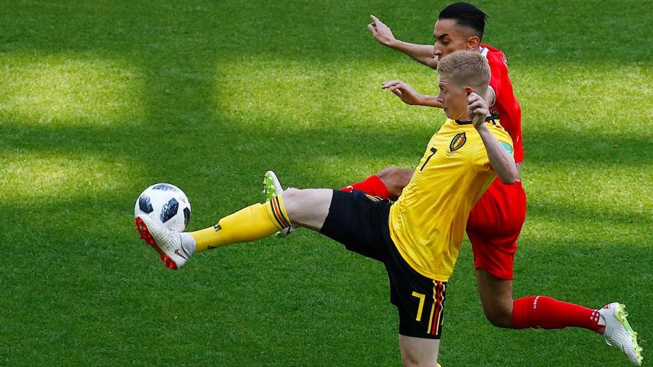 Belgiens Kevin de Bruyne (vorne) im WM-Gruppenspiel gegen Tunesien.