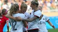 Der Olympiasieg ist möglich: Die deutschen Fußballfrauen mit Leupolz, Behringer und Mittag stehen im Finale