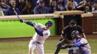 Schlaggewaltig: Anthony Rizzo von den Chicago Cubs blickt seinem Home Run hinterher