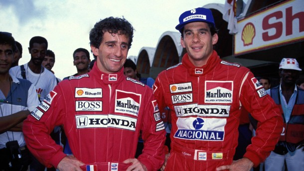 Ayrton Senna -BRA- und Teamkollege Alain Prost -FRA-