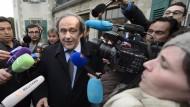 Michel Platini am Dienstag in Lausanne nach der Anhörung vor dem Cas.