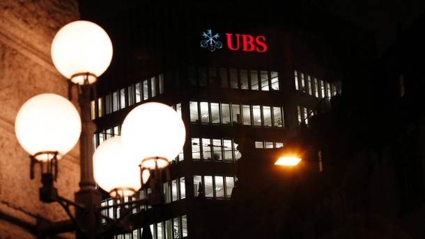 Logo of Swiss bank UBS is seen on a building in Zurich