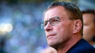 Opfer einer besonders geschmacklosen Aktion der Mönchengladbach-Anhänger: Leipzig-Trainer Ralf Rangnick