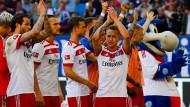 Feiern können sie, als wären sie Sieger: Spieler des Hamburger SV