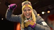 Strahlenden Augen, fröhliches Lachen – und die erfolgreichste Athletin in Falun