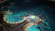 Der schöne Schein: Computerbilder wie das vom Doha Port Stadium in Qatar haben Blendwirkung - die Schatten sieht man nicht