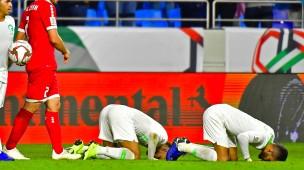 Die Asienmeisterschaft läuft: Saudische Spieler nach dem Sieg gegen Libanon.