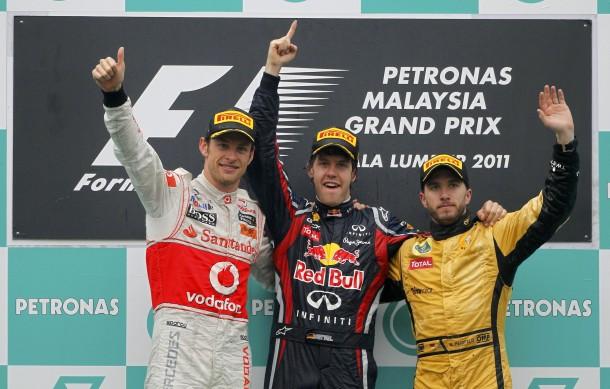 Die Drei vom Podium: Button, Vettel Heidfeld (v.l.)