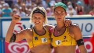 Laura Ludwig und Kira Walkenhorst: sie spielen zwar für den HSV, trainieren aber auf der ganzen Welt.